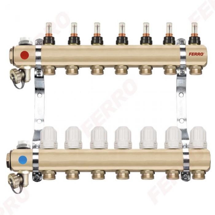 "Ferro Distribuitor/colector-repartitor tip RZP 1"" 11 circuite"